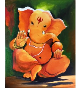 Handmade Beautiful Acrylic Stretched Canvas Painting Of Lord Ganesha By Sanskriti Arts