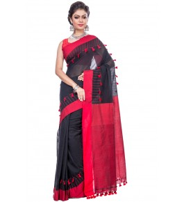 Handloom Premium Khadi Cotton Pom Pom Black Saree For Women By T J Sarees