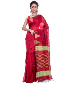 Handloom Premium Cotton Silk Red Saree For Women By T J Sarees