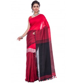 Dhaniakhali Handloom Premium Khadi Cotton Red Saree For Women By T J Sarees