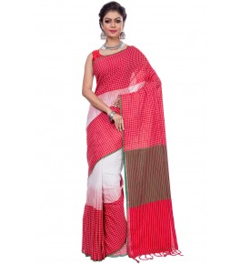 Handloom Premium Khadi Cotton Santipore Red Saree For Women By T J Sarees