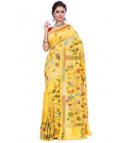 Handloom Malai Silk Kantha Yellow Saree For Women By T J Sarees