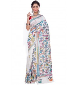 Handloom Malai Silk Kantha White Saree For Women By T J Sarees