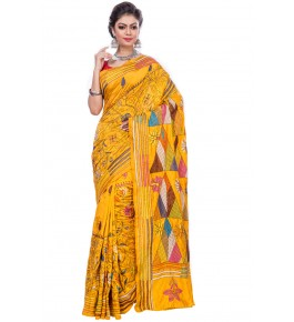 Handloom Malai Silk Yellow Saree For Women By T J Sarees