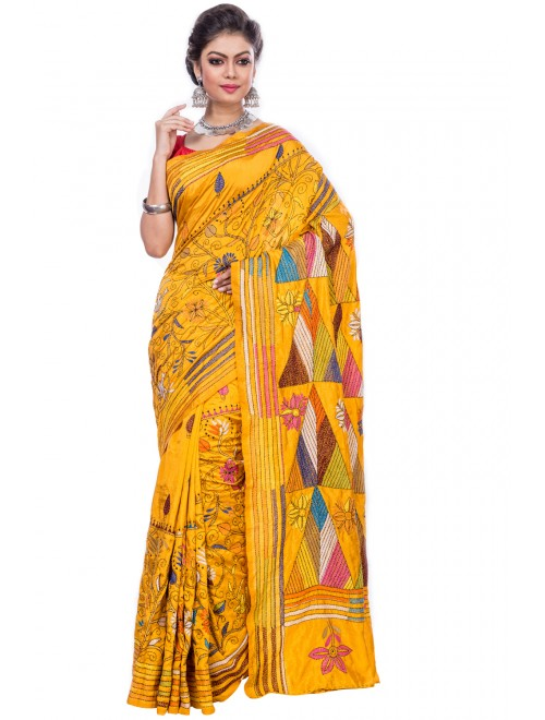 Handloom Malai Silk Yellow Santipore Saree For Women By T J Sarees