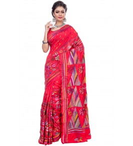 Handloom Malai Silk Kantha Stitch Red Saree For Women By T J Sarees