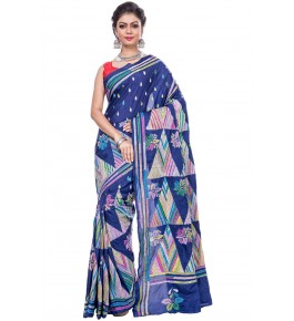 Handloom Malai Silk Kantha Blue Saree For Women By T J Sarees