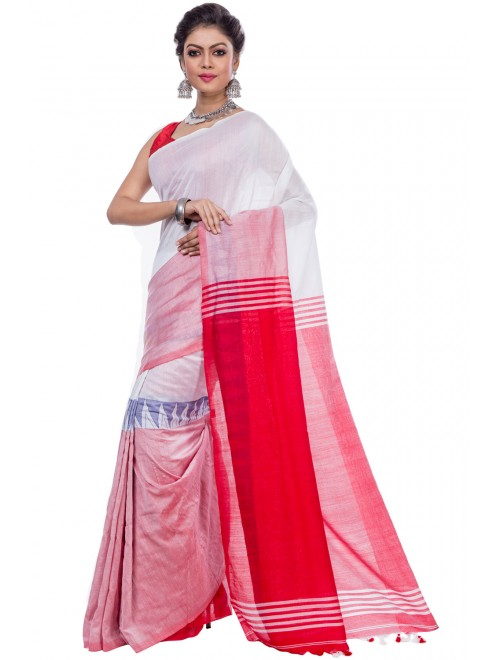 Dhaniakhali Handloom Premium Khadi Cotton White Saree For Women By T J Sarees