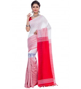 Handloom Premium Khadi Cotton Dhaniakhali White Saree For Women By T J Sarees