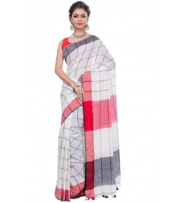 Handloom Khadi Cotton Designer Check White Saree For Women By T J Sarees