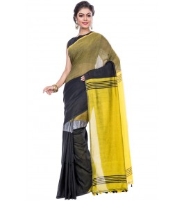 Handloom Premium Khadi Cotton Dhaniakhali Black Saree For Women By T J Sarees