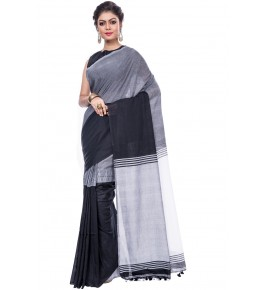 Handloom Premium Khadi Cotton Dhaniakhali Black Sarees For Women By T J Sarees