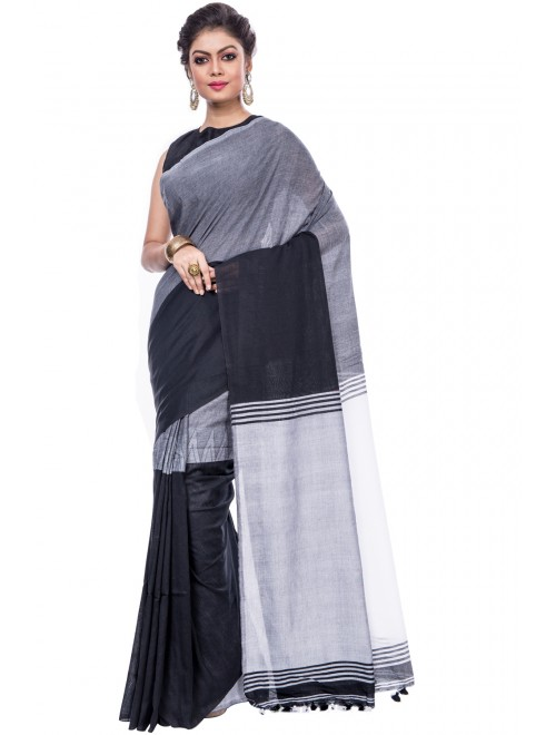 Dhaniakhali Handloom Premium Khadi Cotton Black Saree For Women By T J Sarees