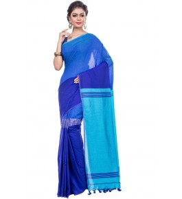 Dhaniakhali Handloom Premium Khadi Cotton Blue Saree For Women By T J Sarees
