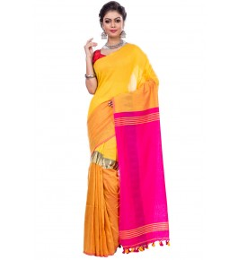 Handloom Premium Khadi Cotton Dhaniakhali Yellow Saree For Women By T J Sarees
