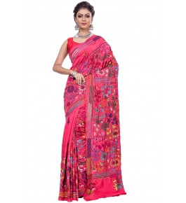 Handloom Malai Silk Pink Santipore Saree For Women By T J Sarees
