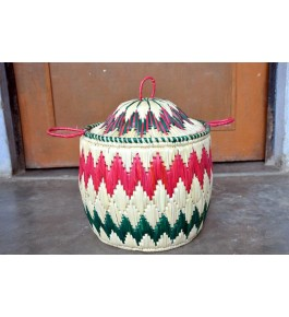 Hand Woven Natural Grass Moonj Basket By Utkarsh Handicraft