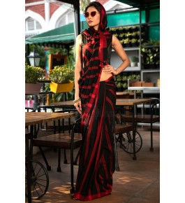 Bhagalpur Handloom Silk Black & Red Saree For Women By Valid Fashion