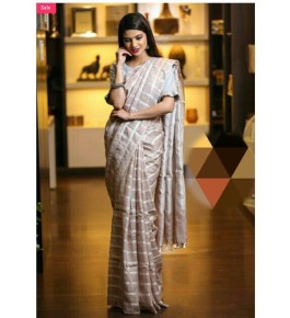 Bhagalpur Handloom Silk Beige Saree For Women By Valid Fashion