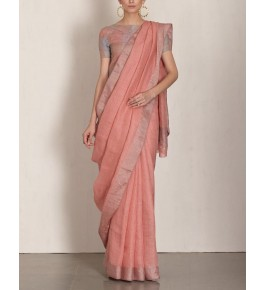 Bhagalpur Handloom Silk Peach Saree For Women By Valid Fashion