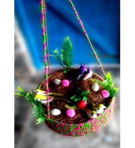Beautiful Ghazipur Birds in Nest with Eggs Wall Hanging for Wall Decor