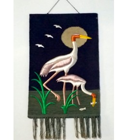 Beautiful Handmade Ghazipur Patchwork Wall Hanging of Two Heron for Wall Decor