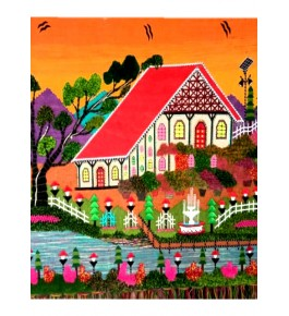 Beautiful Handmade Scenery Ghazipur Patchwork Wall Hanging for Wall Decor