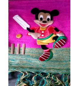 Beautiful Handmade Ghazipur Patchwork of Mickey Playing Cricket Wall Hanging for Wall Decor