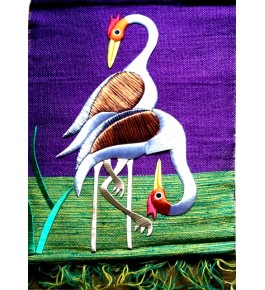 Beautiful Handmade Ghazipur Wall Hanging Patchwork of Two Heron for Wall Decor