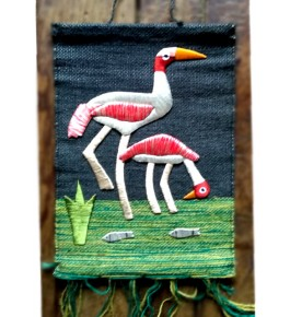 Ghazipur Wall Hanging Patchwork of Two Heron with Fish for Wall Decor