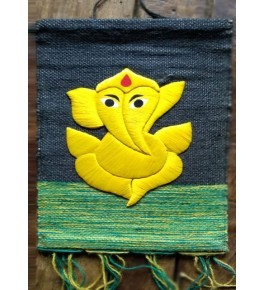 Ghazipur Wall Hanging Patchwork of Yellow Lord Ganpati for Wall Decor