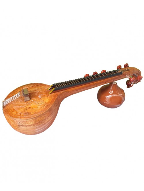 Traditional Handmade Ekanda Carving Thanjavur Veena With Floral Designs For Classical Music Lovers