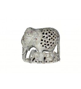 Varanasi Soft Stone Jali Work Family Elephant (Baby Elephant Inside) Showpiece