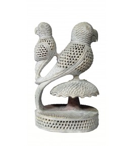 Varanasi Soft Stone Jali Work Double Parrot (Baby Parrot Inside) By Verma HandiCrafts