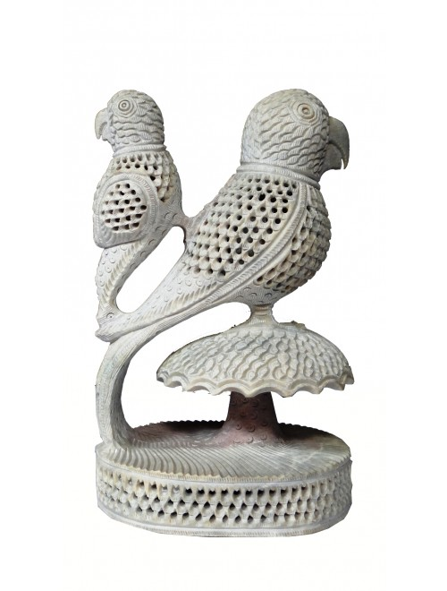 Varanasi Soft Stone Jali Work Double Parrot (Baby Parrot Inside) Showpiece