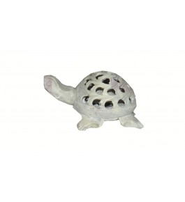 Varanasi Soft Stone Jali Work Turtle (Baby Turtle Inside) Showpiece