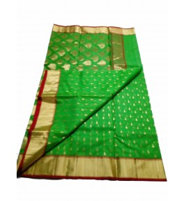 Chanderi Sarees Beautiful Handloom Katan Silk Green Saree For Women By Shree Guru Kripa Chanderi Saree