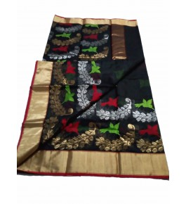 Chanderi Sarees  Handloom Katan Silk Black Saree For Women By Shree Guru Kripa Chanderi Saree