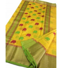 Chanderi Sarees Beautiful Handloom Katan Silk Yellow Saree For Women By Shree Guru Kripa Chanderi Saree