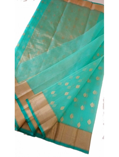 Chanderi Sarees Beautiful Handloom Katan Silk Turquoise Saree For Women By Shree Guru Kripa Chanderi Saree