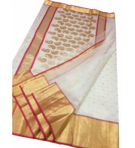 Chanderi Sarees Beautiful Handloom Katan Silk White Saree For Women By Shree Guru Kripa Chanderi Saree