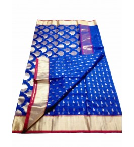 Chanderi Sarees Handloom Katan Silk Blue Saree For Women By Shree Guru Kripa Chanderi Saree