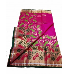 Chanderi Sarees Beautiful Handloom Katan Silk Pink Saree For Women By Shree Guru Kripa Chanderi Saree