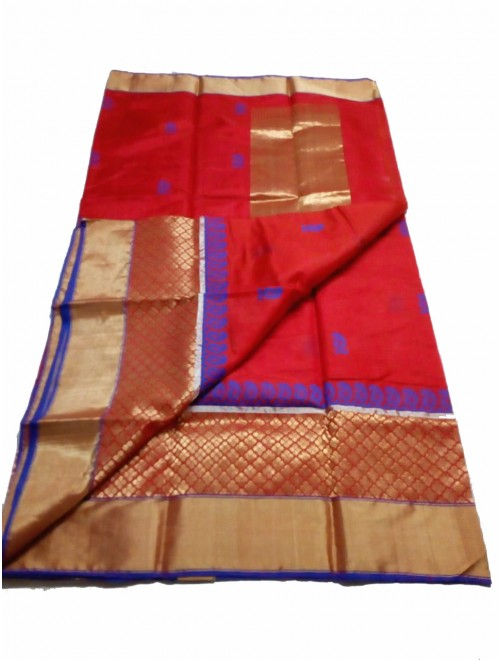 Chanderi Sarees Beautiful Handloom Katan Silk Red Saree For Women By Shree Guru Kripa Chanderi Saree
