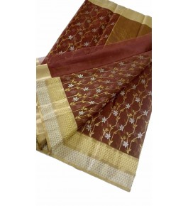 Chanderi Sarees Beautiful Handloom Katan Silk Brown Saree For Women By Shree Guru Kripa Chanderi Saree
