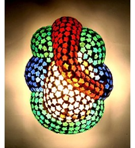 Firozabad Glass Antique Multicolor Ganesha Wall Light For Home Decor By New Make In India