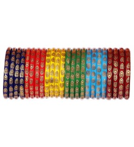 Firozabad Glass Beautiful Gold Printed Heart Pattern Bangles For Women & Girls By New Make In India