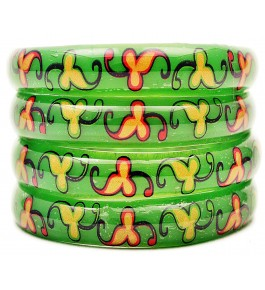 Fashionable & Beautiful Flower Printed Glass Bangles For Women & Girls By New Make in India