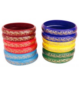 Firozabad Glass Glossy Kada Set Engraving With Gold For Women & Girls By New Make In India