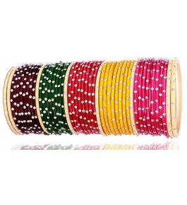 Elegant Design & Glossy Multicolor Glass Bangle Set For Women & Girls By New Make in India